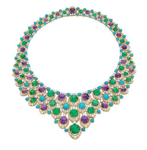 "Bulgari ""bib"" necklace in gold with cabochon emeralds, amethysts, turquoise and diamonds, ca 1965"