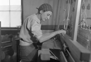 Anni Albers in her weaving studio at Black Mountain College, 1937. Photograph by Helen M. Post