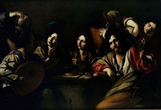 Bartolomeo Manfredi, Riunione di bevitori, c. 1619-1620, collezione privata