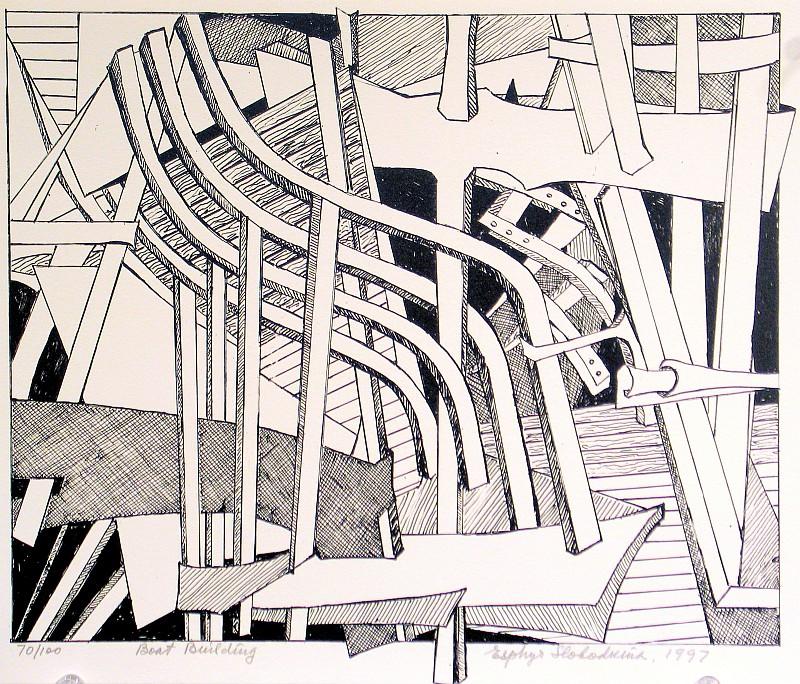 Esphyr Slobodkina, Boat Building lithograph