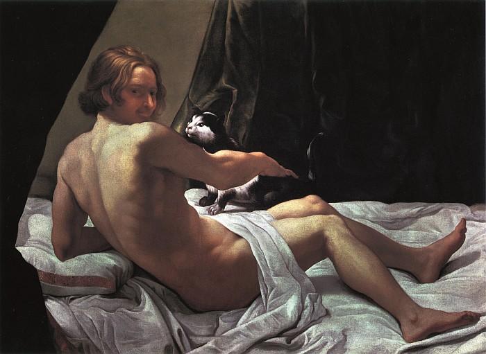 Giovanni Lanfranco, Giovane nudo sul letto con un gatto, 1620-1622, olio su tela, collezione privata