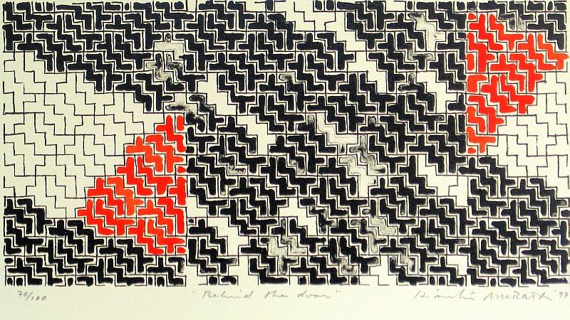 Hiroshi Murata, Behind the Door lithograph