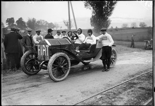 Jules Decrauzat, The Fiat Team at a Car Race of the Touring Club Switzerland, Eaux-Mortes, Geneva, 1911