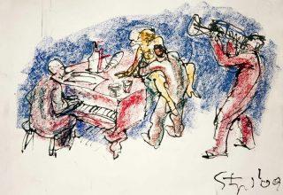 Karl-Stengel-Untitled 7-2009-39x54cm 15x21 Inches-Oil pastel on paper