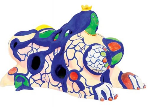 Niki de Saint Phalle - Sphinx - 1989, Sculpture in painted polyester and gold leaf, 28 x 43 x 29 cm